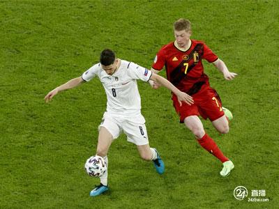 巴雷拉得分了。意大利在欧洲杯上以2比1战胜比利时,晋级四强